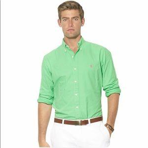 Ralph Lauren man green long sleeve oxford shirt L